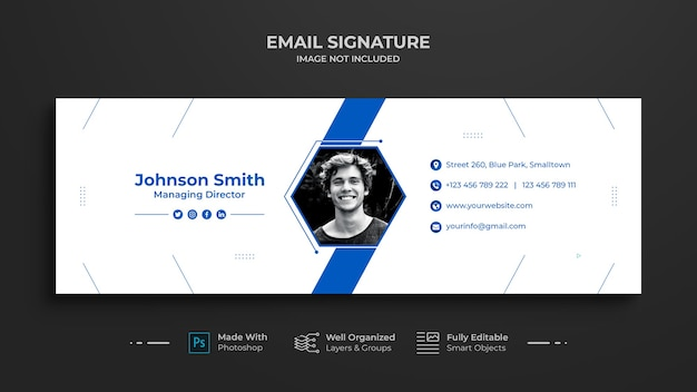 Design der e-mail-signaturvorlage oder e-mail-fußzeile und persönliches social-media-cover, soziales netzwerk