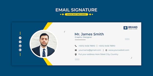 Design der e-mail-signaturvorlage oder e-mail-fußzeile und persönliches social-media-cover