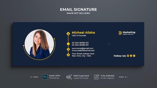 Design der geschäfts-e-mail-signaturvorlage Premium PSD