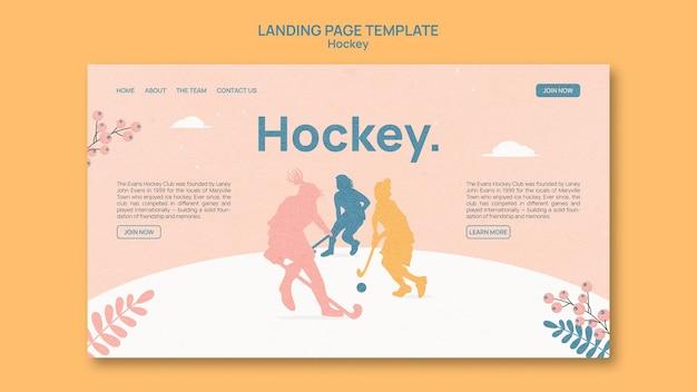 Design der hockey-landingpage-vorlage
