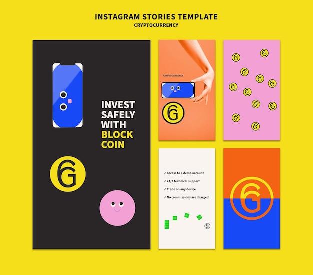 Design der insta-story-vorlage für kryptowährungen