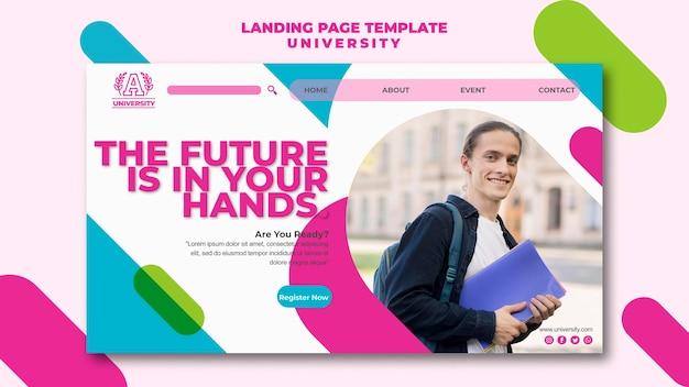 Design der landingpage-vorlage der universität
