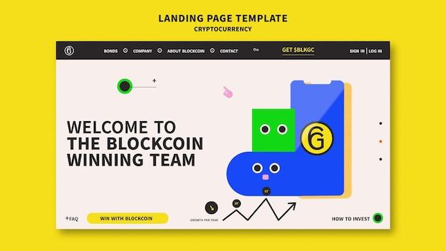 Design der landingpage-vorlage für kryptowährungen