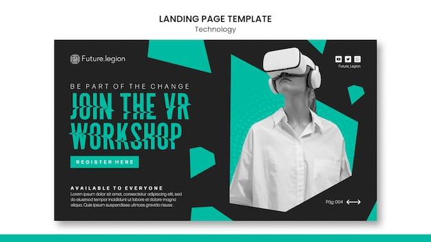 Design der landingpage-vorlage für technologie