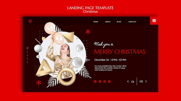 Design der landingpage-vorlage für weihnachten