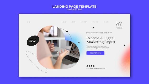 Design der marketing-ladeseite-vorlage