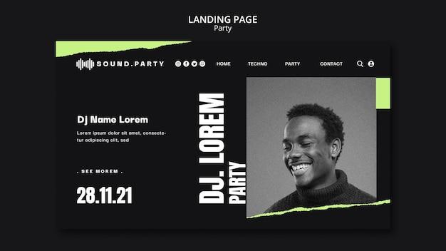 Design der party-landingpage-vorlage