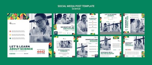 Design der social-media-beitragsvorlage für wissenschaft