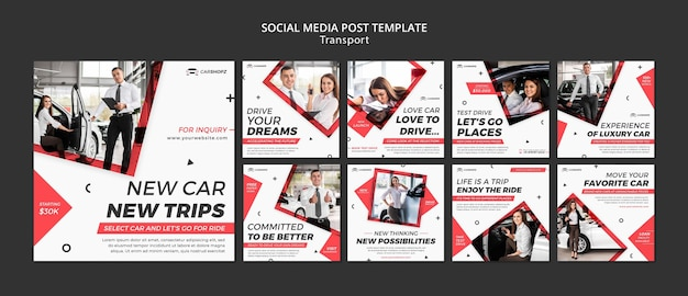 Design der social media-post-transport-vorlage