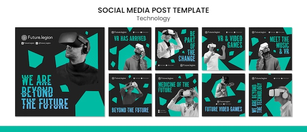 Design der social-media-post-vorlage für technologie