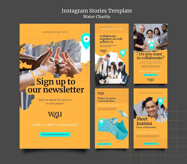 Design der vorlage für die insta-story für eine wohltätigkeitsorganisation