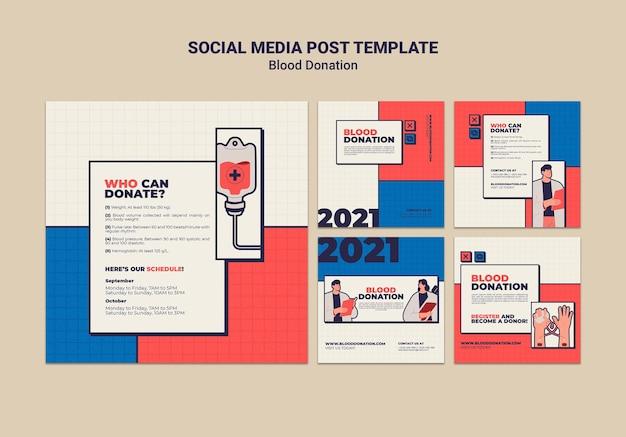 Design der vorlage für social media-posts für blutspenden