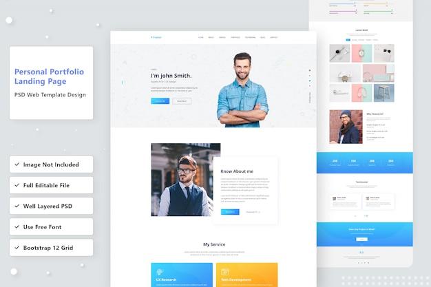 Design der zielseite der persönlichen portfolio-website