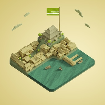 Design des 3d-modells des weltwelttages der städte