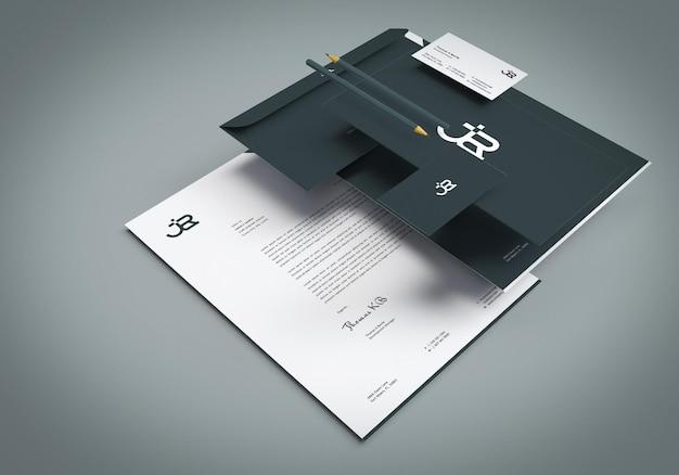 Design-set für büromaterial mockups
