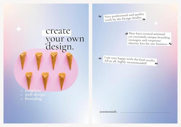 Design studio poster psd auf pastellvioletten und rosa farbverlaufsgrafikset