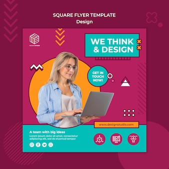 Design studio quadratische flyer vorlage