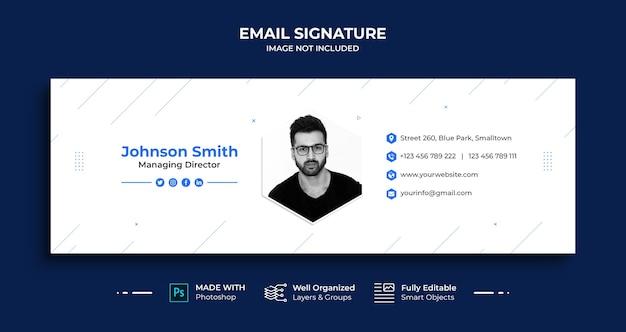 Design von business-e-mail-signaturvorlagen oder e-mail-fußzeile und persönliches social-media-cover