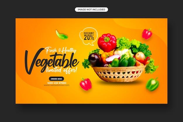 Design von social-media-posts und web-banner-vorlagen für die werbung für gesunde lebensmittel