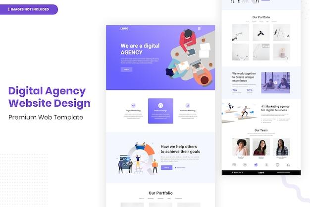 Design-vorlage für die website der digitalagentur