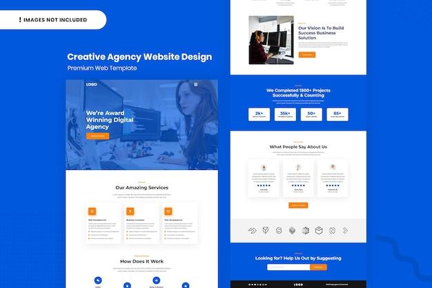 Design-vorlage für die website der kreativagentur