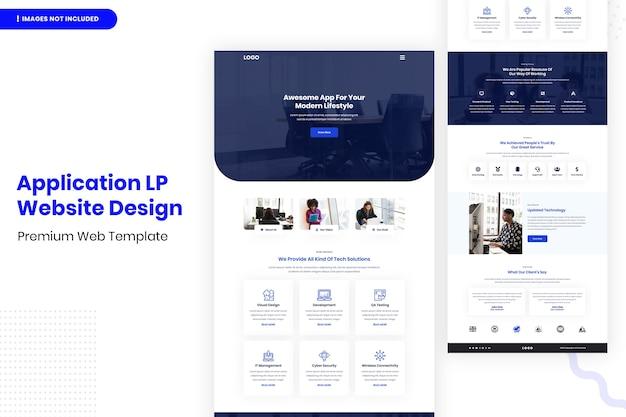Design-website-vorlage für anwendung lp