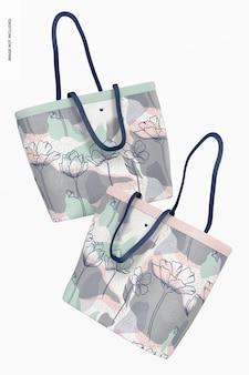 Designer einkaufstaschen mockup, schwimmend