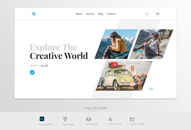 Designing landing page vorlage für reisende websites