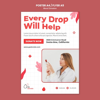 Designvorlage für blutspendeplakate oder flyer
