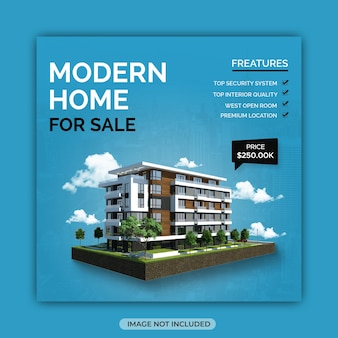Designvorlage für den verkauf von immobilien in sozialen medien für den verkauf von immobilien