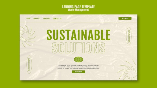 Designvorlage für die abfallwirtschafts-landingpage