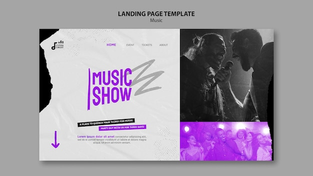 Designvorlage für die landingpage der musikshow