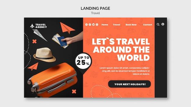Designvorlage für die reise-landingpage