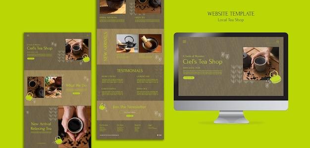 Designvorlage für die website eines lokalen teeladens