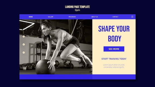 Designvorlage für die zielseite des fitnessstudios
