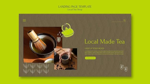 Designvorlage für die zielseite des lokalen teeladens