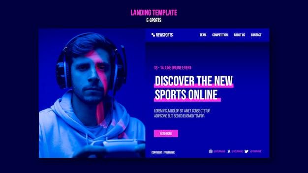 Designvorlage für e-sport-landingpages