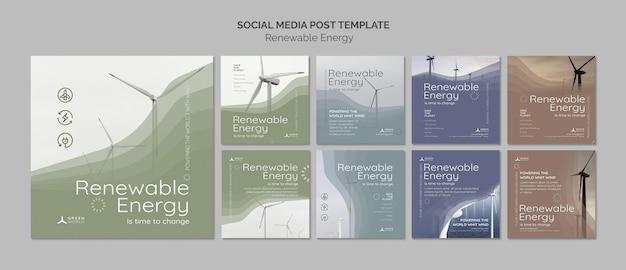 Designvorlage für ein social-media-paket für erneuerbare energien
