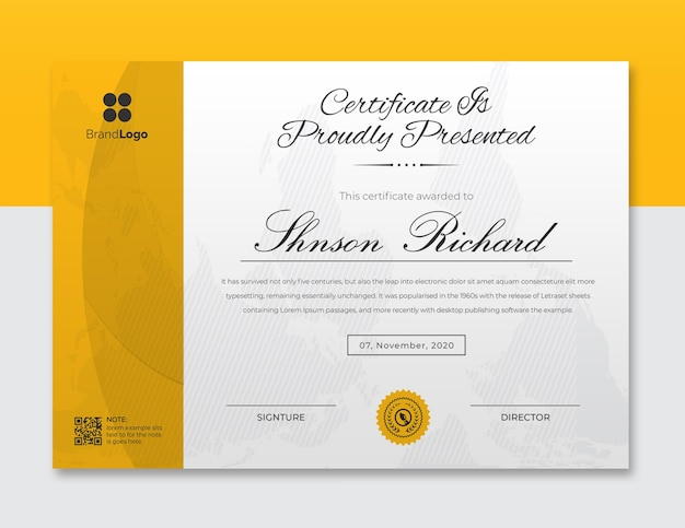 Designvorlage für gelbe und schwarze wellenzertifikate