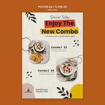 Designvorlage für indisches essen poster
