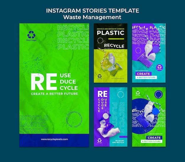 Designvorlage für insta-storys für die abfallwirtschaft