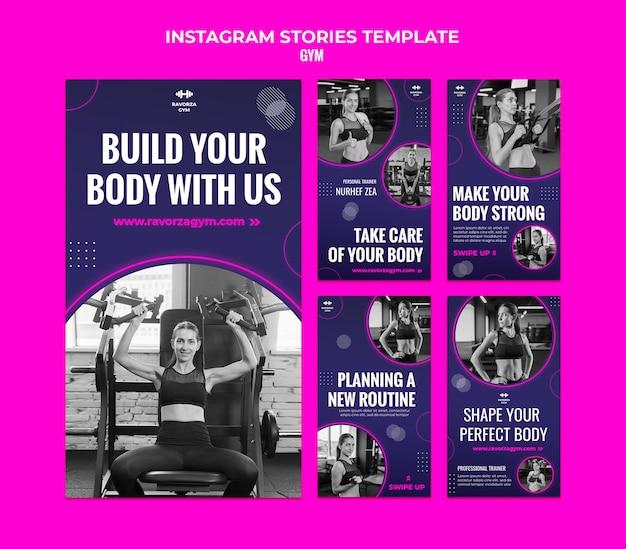 Designvorlage für instagram-geschichten im fitnessstudio