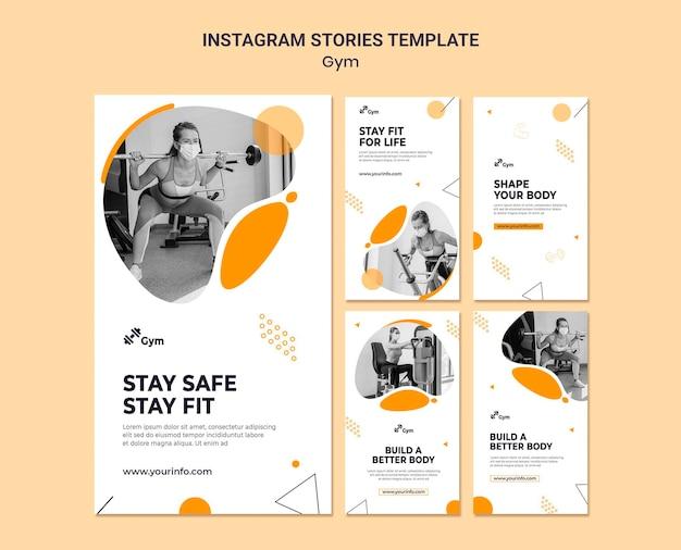 Designvorlage für instagram-geschichten im fitnessstudio Premium PSD