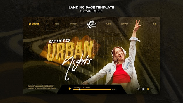 Designvorlage für landingpages für urbane musik