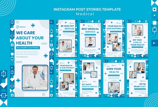 Designvorlage für medizinische instagram-geschichten
