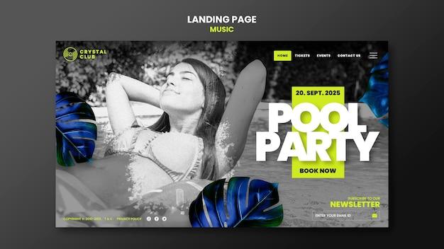Designvorlage für poolpartymusik-landingpages