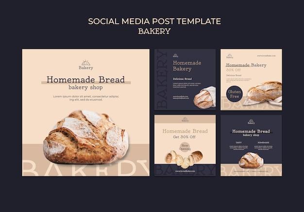 Designvorlage für social-media-beiträge für bäckereien