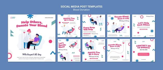 Designvorlage für social-media-beiträge für blutspenden
