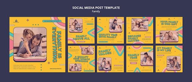 Designvorlage für social-media-beiträge für familien