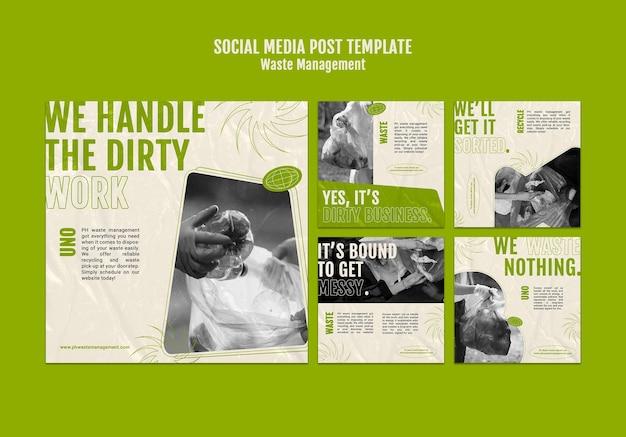 Designvorlage für social-media-beiträge zur abfallwirtschaft